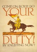 COME ON, BOYS! DO YOUR DUTY BY ENLISTING NOW! Vintage WW1 Poster